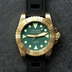 Gold Watch, Helson Shark Diver, Best Affordable Watches, Rolex Watches, Brass, Green, Accessories, Jewelry Accessories