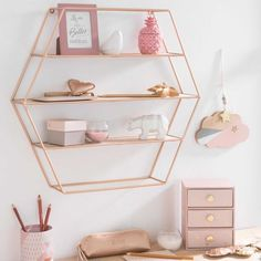 Rose gold bedroom decor living room accessories hot pink and grey white g . reach limited edition art print by minted gold bedroom decor Copper Shelving, Metal Shelves, Pink Shelves, Copper Shelf, Wall Shelves, Floating Shelves, Rose Gold Rooms, Rose Gold Decor, Rose Gold Interior