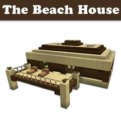 FREE ebook Minecraft Building Designs: The Beach House (Step-By-Step Blueprint And Video Instructions Included) Minecraft Beach House, Easy Minecraft Houses, Minecraft Houses Blueprints, Minecraft Creations, How To Play Minecraft, Minecraft Stuff, Minecraft Skins, Minecraft Buildings, Minecraft Building Designs