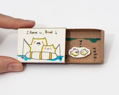 """Father's Day Card/ Cat Dad's Card/ Funny Father's Day Gift Gift for Dad /Cat Fishing Card/ """"I love you Dad"""""""" Matchbox/ Gift box/ OT021"""