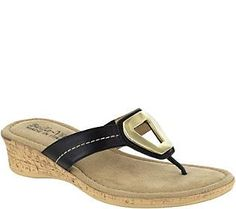 Bella Vita Leather Wedge Thong Sandals - Lou