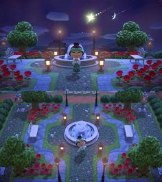 Meteor shower over the town park 🌹 - ac_newhorizons Animal Crossing Guide, Animal Crossing Qr Codes Clothes, Animal Crossing Pocket Camp, Ac New Leaf, Meteor Shower, Motifs Animal, Animal Games, Island Design, Cute Animals