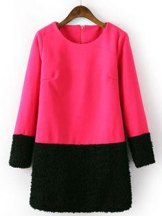 Rose Red Contrast Black Long Sleeve Straight Dress EUR€24.32