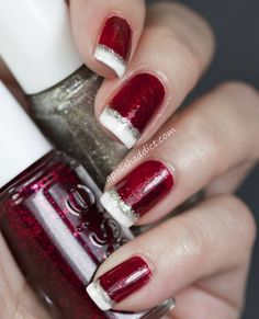 Christmas Tips, Red Glittery nails, with white tips, made to look like santa hats.