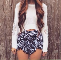 cropped sweater w/ lace sleeves + floral pom pom shorts