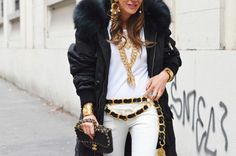 Anna Dello Russo accessorized in Chanel photographed by Tommy Ton