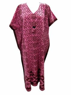 Boho Long Kaftans Maxi Dress Pink Maroon Floral Print Cotton Caftan Night Wear | eBay $24.99