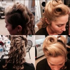 A Modern Twist On A Classic Style. A Dramatic Updo With Vintage Victory Rolls, And Cascading Wand Curls.