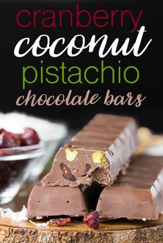 These Cranberry Coconut Pistachio Chocolate Bars are so easy to make at home. They are rich, festive and perfect for holiday gift giving!