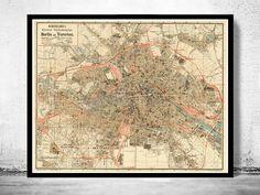 Alte Karte von Berlin Deutschland 1904 Antik Vintage