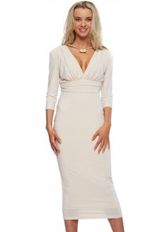 Genese Oyster Silky Jersey Midi Dress With Diamonte Necklace