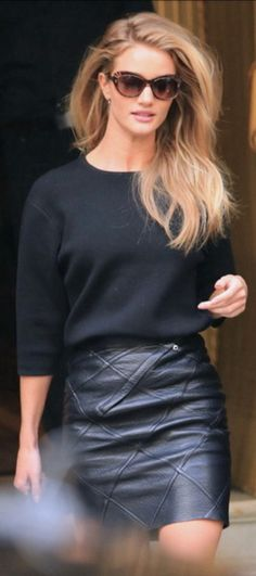 Rosie huntington Whitley leather skirt jumper chic combo!