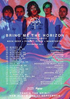 Who's got their tickers for BRING ME THE HORIZON's tour in November? Make sure you get your tickets quick as many of the shows are selling out fast. Tour poster featuring our Stay Dead Tank.   http://ift.tt/1KimY9b