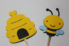Bumble Bee and Bee Hive Cupcake Toppers Cake by ThePaperOwl13,