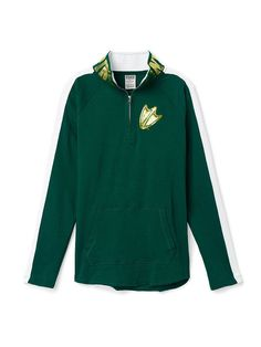 Victoria Secret PINK Oregon Ducks Half Zip Tunic Sweatshirt XS fits S Bling NWT #VictoriasSecretPINK #SweatshirtCrew