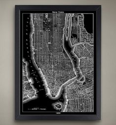 New York Poster  Vintage 1855 Black and White Map of by GeoArtShed, $29.00