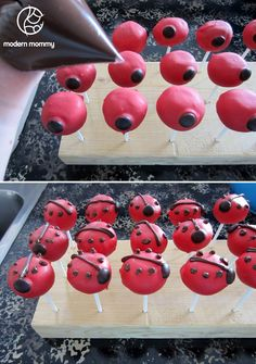Modern Mommy: Make It Monday: Ladybug Cake Pops Ladybug Cake Pops, Ladybug Party, Ladybug 1st Birthdays, First Birthdays, Cake Pop Stands, Dirt Cake, Sandwich Cake, Cake Batter, Melting Chocolate