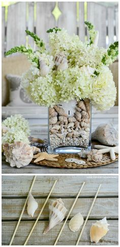 DIY Floral Arrangement with Shells | ©homeiswheretheboati Beach Crafts, Diy Crafts, Tote Organization, Floating Flowers, Craft Bags, Dinner Parties, Flower Centerpieces, Coastal Style, Floral Designs