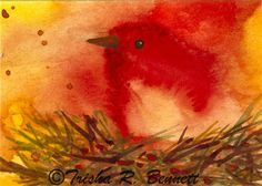 Original ACEO Painting  of a Bird in a Nest. Small Size Art in Red Gold and Brown. Miniature Watercolor Art for Collecting and Enjoyment.