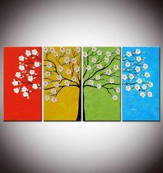 Cuatro estaciones árbol pintura árbol de flores pintura