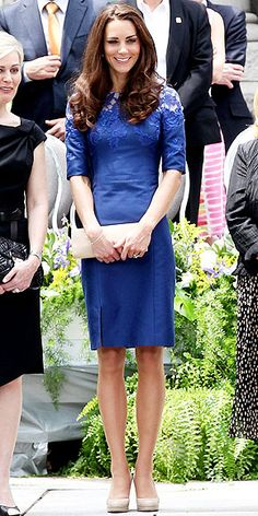 ROYAL BLUE  In addition to her maple-leaf accessories, Kate gives Canadian style a nod by selecting two dresses by Montreal-born designer Erdem Moralioglu, who now lives in London and whose dresses are a favorite of stars like Lea Michele and Michelle Williams. For a prayer service in Montreal, she sported a lacy cobalt shift with a nude patent clutch and her favorite L.K. Bennett heels.