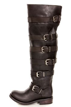 Zigi Girl Tackle Black Leather Belted Over-the-Knee Boots at LuLus.com! these are amazing AND leather