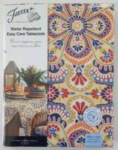 Fiesta Indoor/Outdoor Tablecloth Jacobean/Turquoise Geometric 70 ...