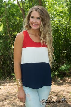 Our Sweet Land Tank Top - Red/White/Blue