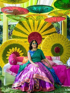 Bridal Bed to the Mehndi Swing - Bridal Seat Ideas from Rent Real Weddings to spruce up your Mehndi Decor - Witty Vows Desi Wedding Decor, Wedding Stage Decorations, Wedding Mandap, Diwali Decorations, Flower Decorations, Engagement Decorations, Telugu Wedding, House Decorations, Mehndi Ceremony