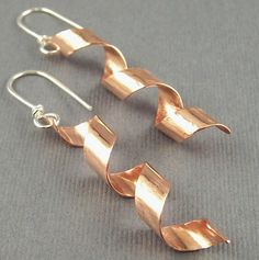copper curl earrings