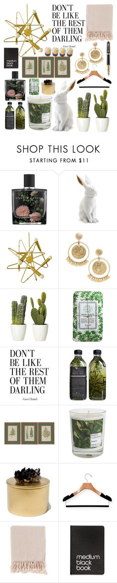 """""""Green time"""" by kate0810 ❤ liked on Polyvore featuring interior, interiors, interior design, home, home decor, interior decorating, Nest, L'Objet, BaubleBar and Fresh"""