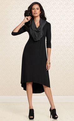 Lovely Layers: #Soma Hi Low Dress & Infinity Wrap in Black #SomaIntimates #fallfashion