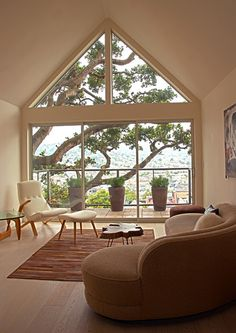 Trees are very important to me and love this view! Fougeron Architecture contemporary living room