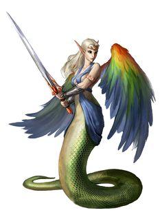 Azata Lillend Fighter - Pathfinder PFRPG DND D&D d20 fantasy