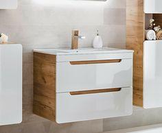 White Gloss Oak Bathroom 600 Compact Vanity Unit Sink Wall Cabinet Drawers Arub · $229.95 Oak Vanity Unit, Cloakroom Vanity Unit, Oak Bathroom, Bathroom Furniture, Basin Unit, Sink Units, Wall Hung Vanity, Grey Oak, Cabinet Drawers
