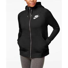 Nike Sportswear Rally Zip Hoodie (96 NZD) ❤ liked on Polyvore featuring tops, hoodies, zipper hoodies, hooded zip sweatshirt, hooded sweatshirt, fleece hoodie and fleece zipper hoodie