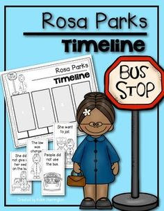 You are receiving a timeline for an event in Rosa Parks life.The timeline depicts/tells the following:Rosa went to jailPeople did not use the bus.Rosa did not give up her seat.The law was changed.Two timelines are included. One version allows students to write in dates.If you need other Rosa Parks resources please look in my store:Rosa Parks Emergent ReaderI also have Ruby Bridges' resourcesRuby Bridges Timeline and a reader too!Thanks for stopping by...