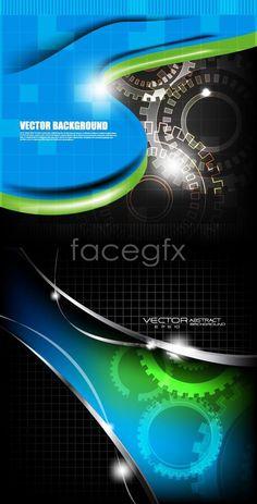Technology gear background vector map