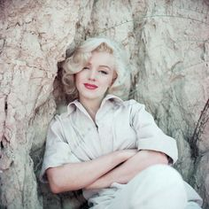 Marilyn Monroe photographed by Milton Greene, The Rock Sitting, Laurel Canyon, September 1953.