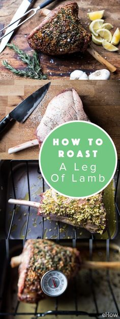 Roast a leg of lamb to perfection with this recipe! Easy to follow, this makes it SO easy to make a delicious meal that will feed the crowds.  All you need is garlic, lemon, rosemary and salt and pepper to add tons of flavor. Easy! http://www.ehow.com/how_2092181_roast-leg-lamb.html?utm_source=pinterest.com&utm_medium=referral&utm_content=freestyle&utm_campaign=fanpage
