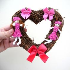 Valentine or Christmas Heart Wreath Girly Pink Dolls and Bows £5.00