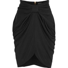 Balmain Draped satin-jersey skirt ($845) ❤ liked on Polyvore featuring skirts, black, black skirt, black knee length skirt, zipper skirt, black draped skirt и ruched skirt