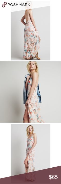 """$49⚡️FLASH SALE⚡️Free People Star Chasing Maxi Intimately Free People Floral Maxi Dress in Hibiscus combo with open back. The perfect dress for summer! Length 58"""" ✌️ Free People Dresses Maxi"""