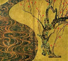 Ogata Kōrin,  紅白梅図屏風(右隻・紅梅図) Red and White Plum (right hand screen:Red Plum)