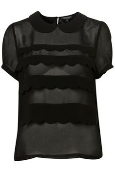 Black Short Sleeve Scallop Tiered Blouse - Tops - Clothing - Topshop - StyleSays