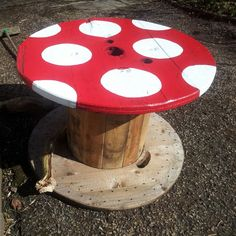 Mushroom cable reel made for my kids zone in the garden.