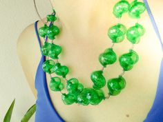Mojito Green Statement Necklace // 2 strands by MandarinaCrafts
