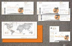 wedding invitation  boarding pass tropical by printATsydesign, $45.00