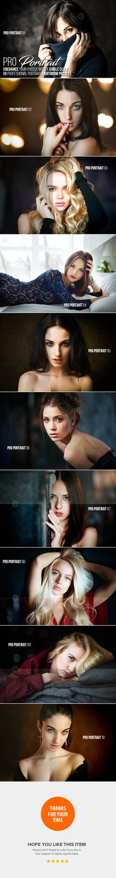 10 Portrait Lightroom Presets Professional & Modern for Photographers and Designers. Each preset has been crafted to look great with a wide variety of images. In many instances you will be able to get a great result with a single click.