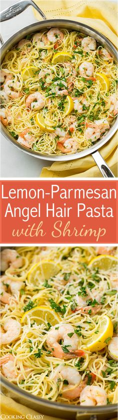 Lemon-Parmesan Angel Hair Pasta with Shrimp - love the vibrant lemon, parmesan and fresh herbs paired with shrimp in this pasta! Easy and delicious!